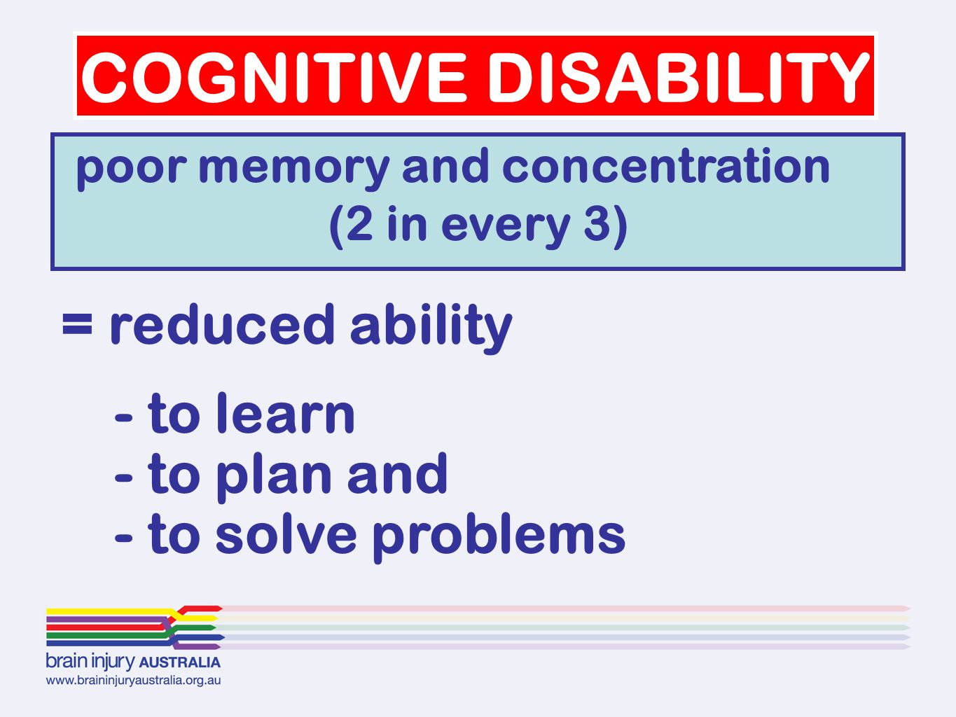 COGNITIVE DISABILITY = reduced ability - to learn - to plan and - to solve problems poor memory and concentration (2 in every 3)