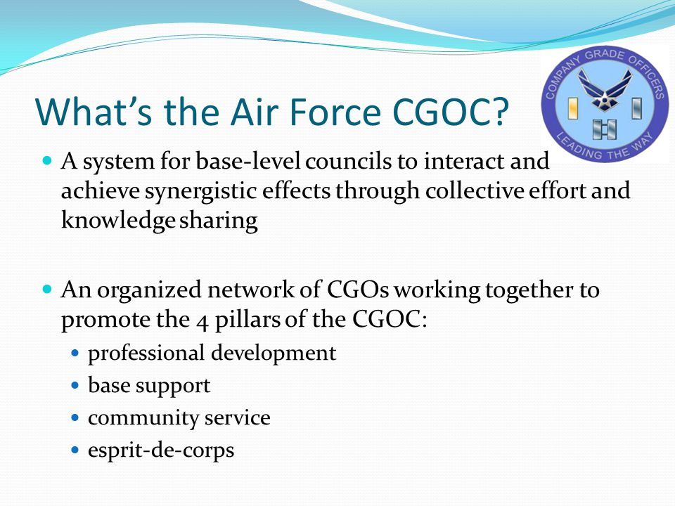 What's the Air Force CGOC? A system for base-level councils to interact and achieve synergistic effects through collective effort and knowledge sharin