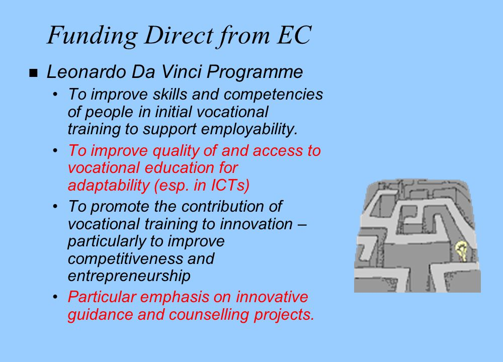 Funding Direct from EC n Leonardo Da Vinci Programme To improve skills and competencies of people in initial vocational training to support employability.