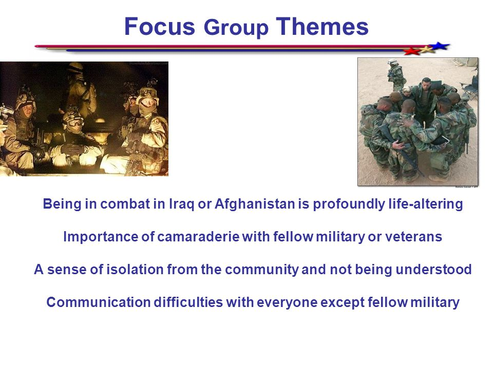 Focus Group Themes Being in combat in Iraq or Afghanistan is profoundly life-altering Importance of camaraderie with fellow military or veterans A sense of isolation from the community and not being understood Communication difficulties with everyone except fellow military