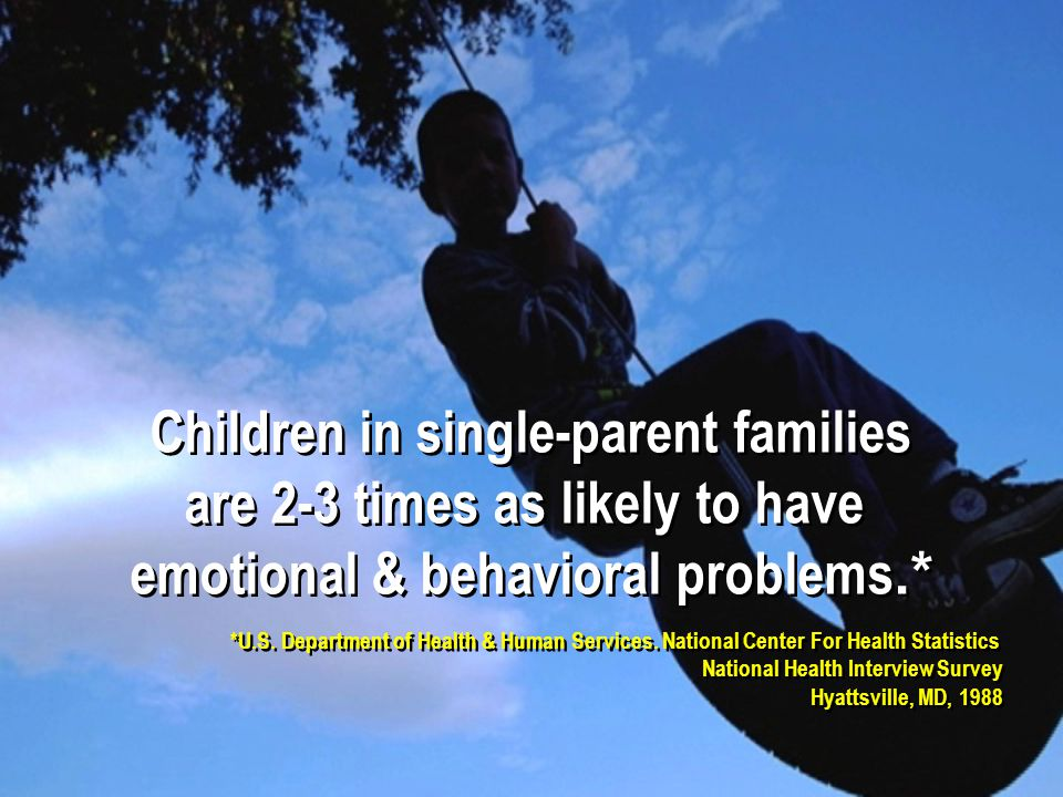 Children in single-parent families are 2-3 times as likely to have emotional & behavioral problems.* Children in single-parent families are 2-3 times as likely to have emotional & behavioral problems.* *U.S.