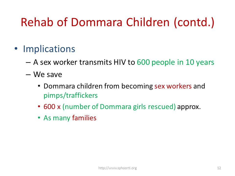 Rehab of Dommara Children (contd.) Implications – A sex worker transmits HIV to 600 people in 10 years – We save Dommara children from becoming sex workers and pimps/traffickers 600 x (number of Dommara girls rescued) approx.