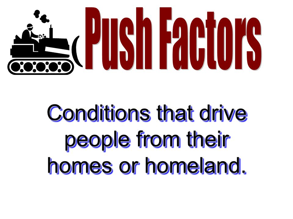 Conditions that drive people from their homes or homeland.