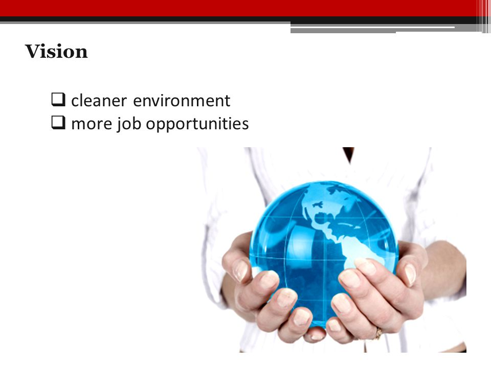 Vision  cleaner environment  more job opportunities