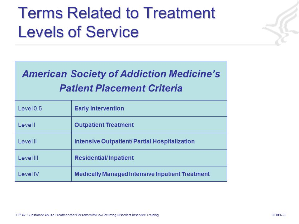 OH #1-25TIP 42: Substance Abuse Treatment for Persons with Co-Occurring Disorders Inservice Training Terms Related to Treatment Levels of Service American Society of Addiction Medicine's Patient Placement Criteria Level 0.5Early Intervention Level IOutpatient Treatment Level IIIntensive Outpatient/ Partial Hospitalization Level IIIResidential/ Inpatient Level IVMedically Managed Intensive Inpatient Treatment