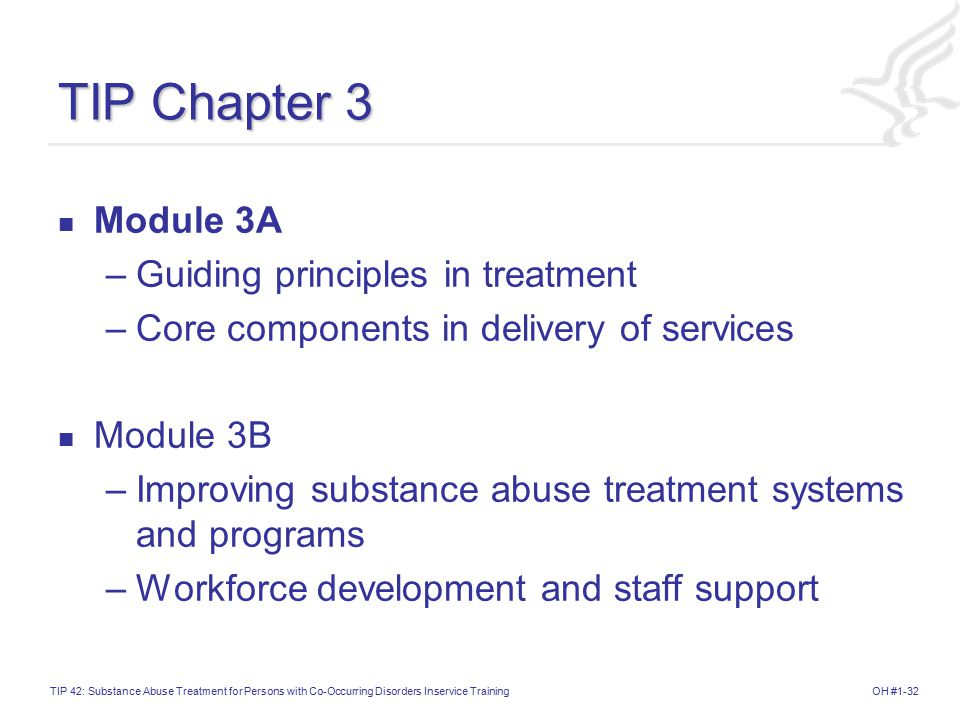 OH #1-32TIP 42: Substance Abuse Treatment for Persons with Co-Occurring Disorders Inservice Training TIP Chapter 3 Module 3A –Guiding principles in treatment –Core components in delivery of services Module 3B –Improving substance abuse treatment systems and programs –Workforce development and staff support
