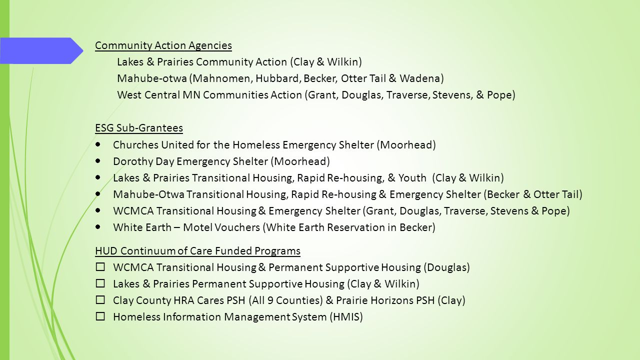 West Central MN CoC Region Other Homeless Programs Dream Catcher Homes PSH (White Earth Reservation, Becker) Clay County HRA ELTH Vouchers (Clay, Wilkin, Douglas, Grant, Stevens, Pope, and Traverse) Clay County HRA Gateway Gardens (Clay) Clay County HRA Highly Mobile Youth (Clay) Compassion House GRH (Detroit Lakes) Lakes & Prairies Family Homeless Prevention & Assistance (FHPAP) - (Clay & Wilkin) Mahube-Otwa FHPHP (Becker) Mahube-Otwa ELTH Vouchers (Becker and Wilkin) Mahube-Otwa Supportive Services (Becker) Mary's Place Domestic Violence Shelter (Detroit Lakes) Mahube-otwa FHPAP (Becker & Otter Tail) WCMCA FHPAP (Grant, Douglas, Traverse, Stevens & Pope) WCMCA House Keys/Rapid Re-Rehousing (Douglas) Someplace Safe DV Safe homes and motel vouchers (Douglas, Otter Tail and Wilkin)