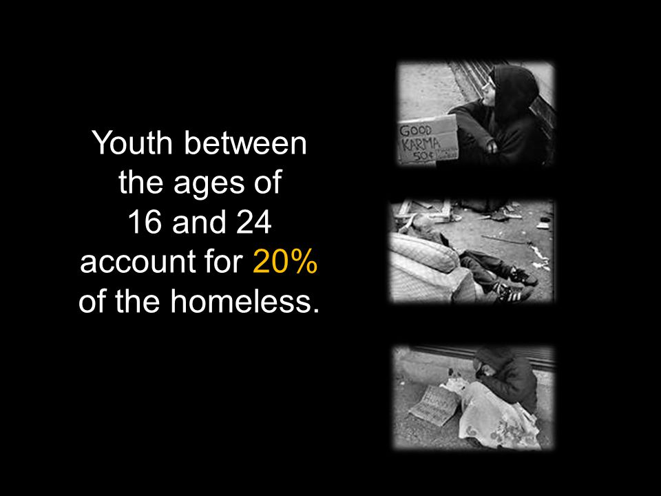 Youth between the ages of 16 and 24 account for 20% of the homeless.