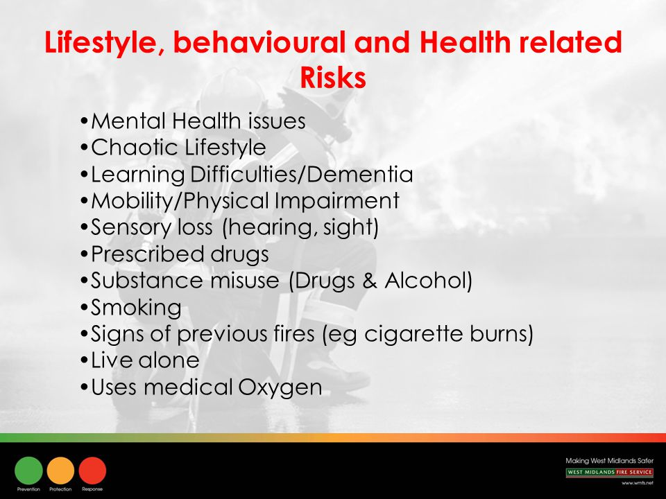 Lifestyle, behavioural and Health related Risks Mental Health issues Chaotic Lifestyle Learning Difficulties/Dementia Mobility/Physical Impairment Sensory loss (hearing, sight) Prescribed drugs Substance misuse (Drugs & Alcohol) Smoking Signs of previous fires (eg cigarette burns) Live alone Uses medical Oxygen