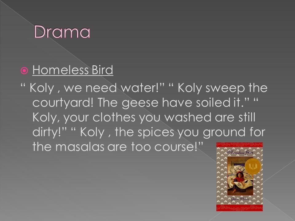  Homeless Bird Koly, we need water! Koly sweep the courtyard.