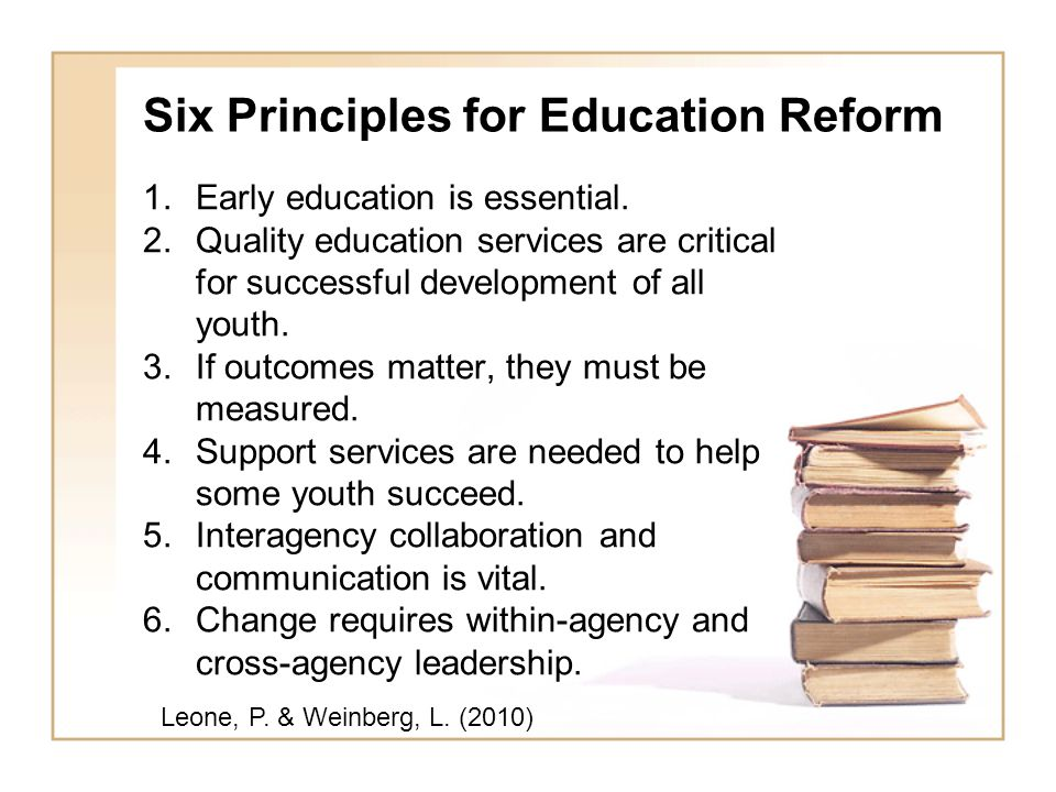 Six Principles for Education Reform 1.Early education is essential. 2.Quality education services are critical for successful development of all youth.