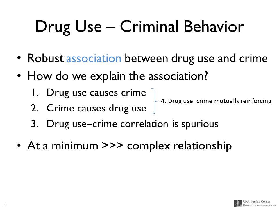 Drug Use – Criminal Behavior Robust association between drug use and crime How do we explain the association? 1.Drug use causes crime 2.Crime causes d