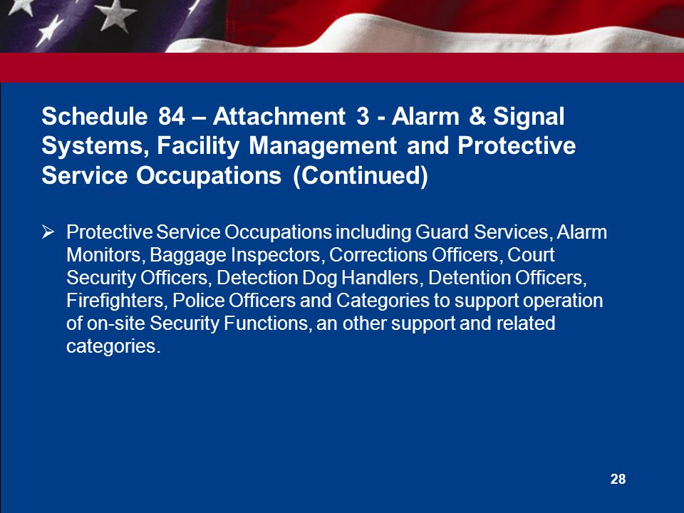 27 Schedule 84 – Attachment 3 - Alarm & Signal Systems, Facility Management and Protective Service Occupations  Security Systems Integration and Design Services  Security Management and Support Services  Security System Life Cycle Support  Alarm and Signal Systems, Access Control Systems, Intrusion Detection Systems, Patient Wandering Detection, and Fire Alarm Systems  Facility Management Systems including building comfort systems and integrated security system and Professional Security/Facility Management Services