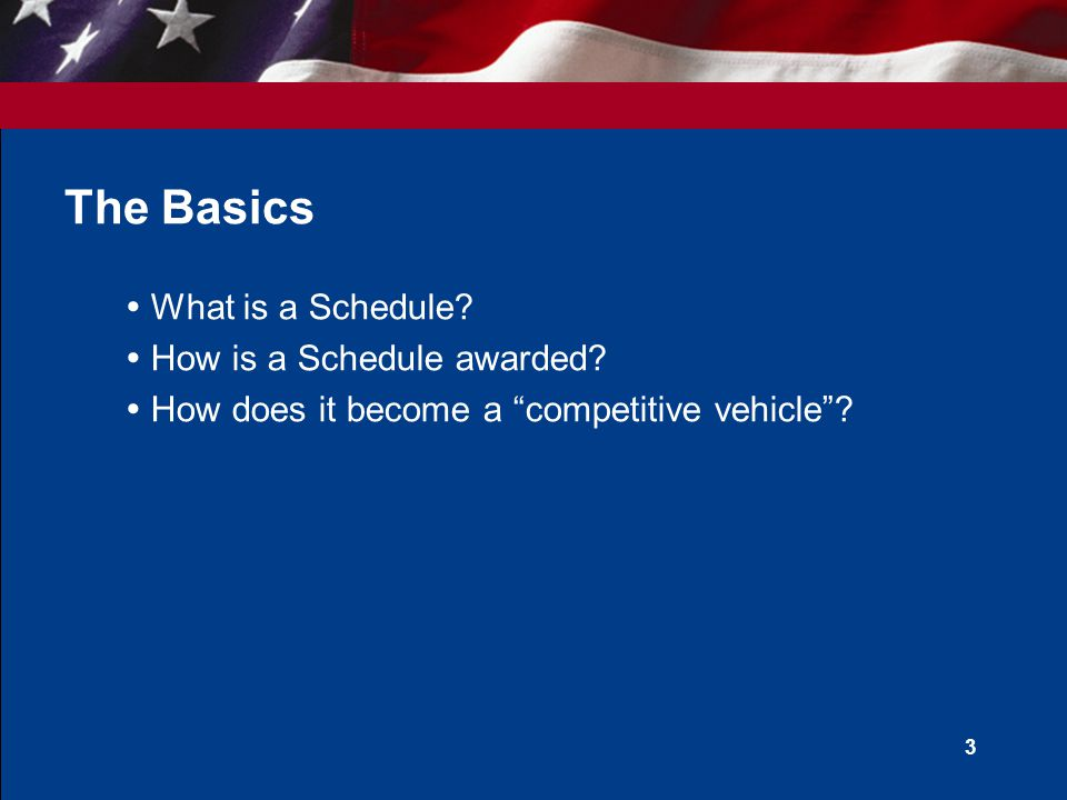 3 The Basics  What is a Schedule. How is a Schedule awarded.