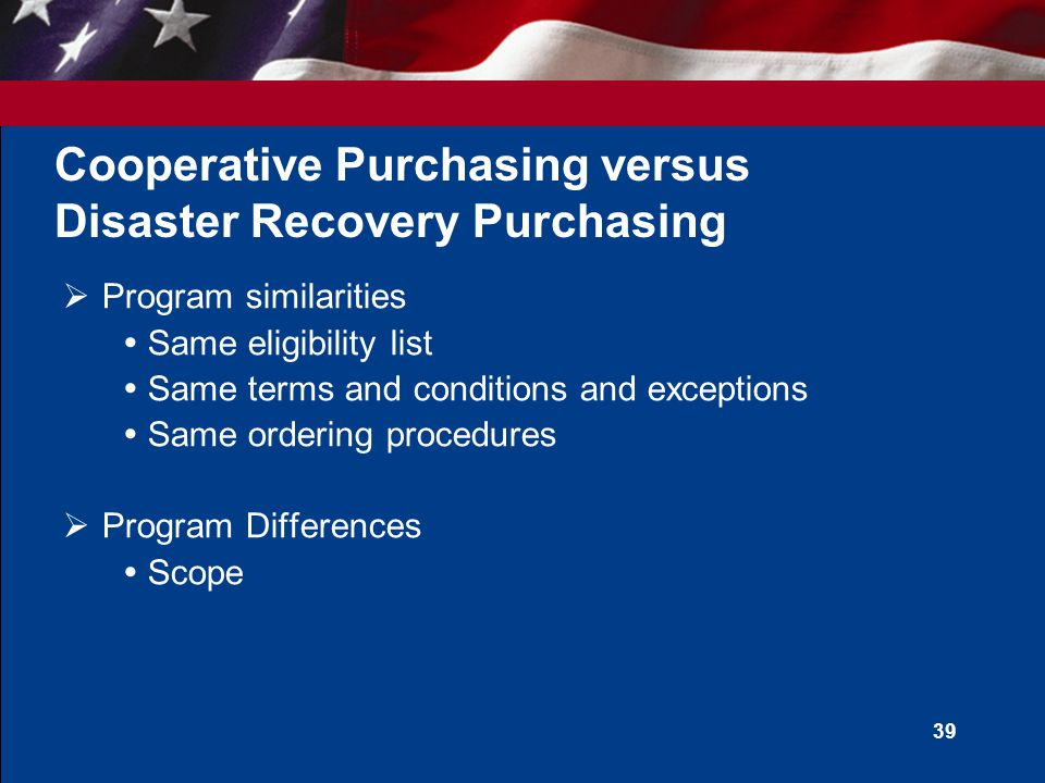 U.S. General Services Administration State and Local Disaster Recovery Purchasing Program
