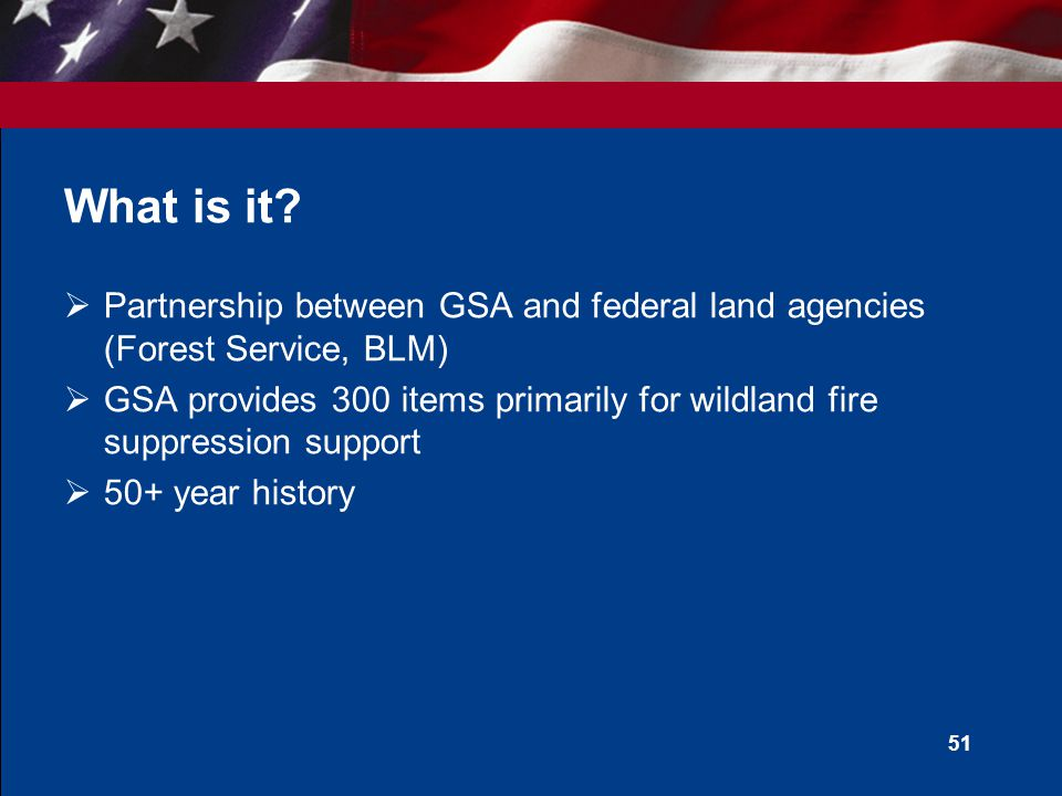 50 Agenda  What is the GSA Fire Program  Why should I use it  How do I use it