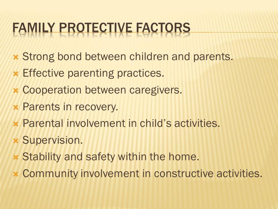  Strong bond between children and parents.  Effective parenting practices.