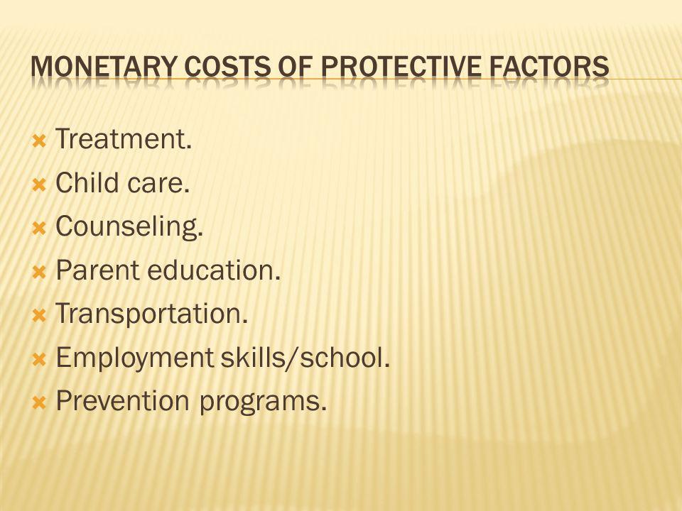  Treatment.  Child care.  Counseling.  Parent education.