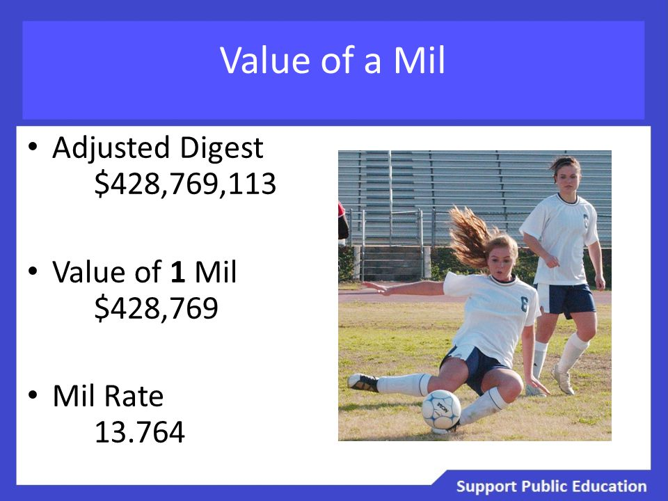 Value of a Mil Adjusted Digest $428,769,113 Value of 1 Mil $428,769 Mil Rate 13.764