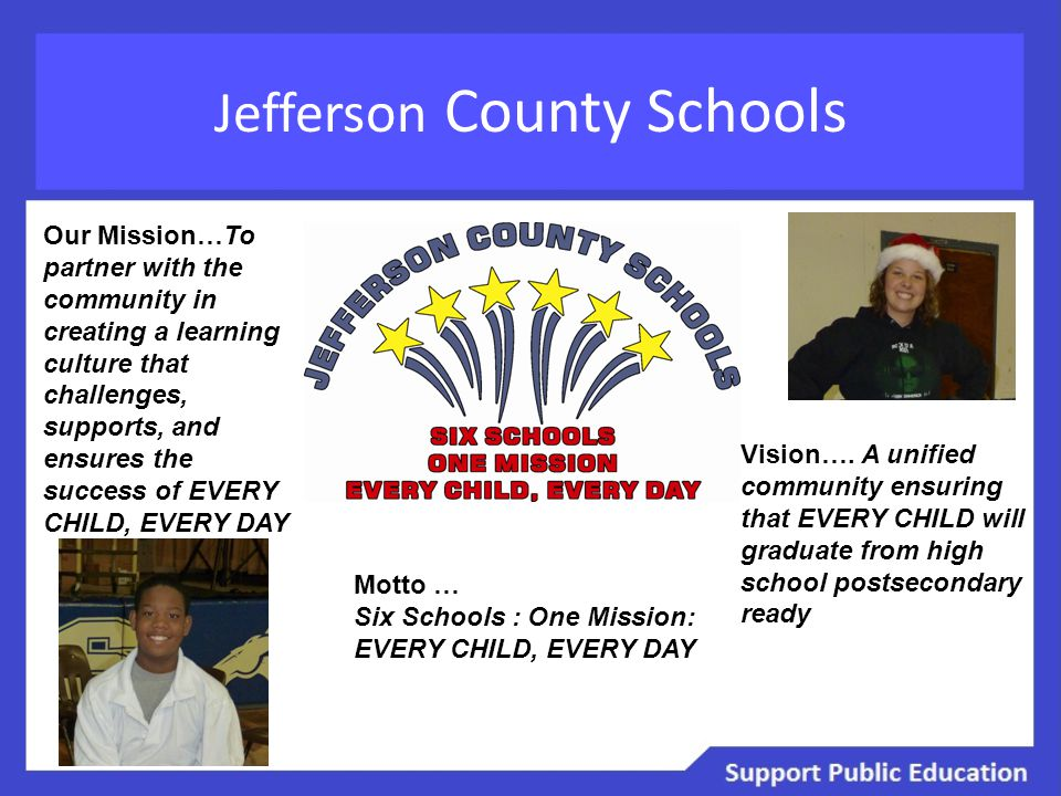 Jefferson County Schools Our Mission…To partner with the community in creating a learning culture that challenges, supports, and ensures the success o