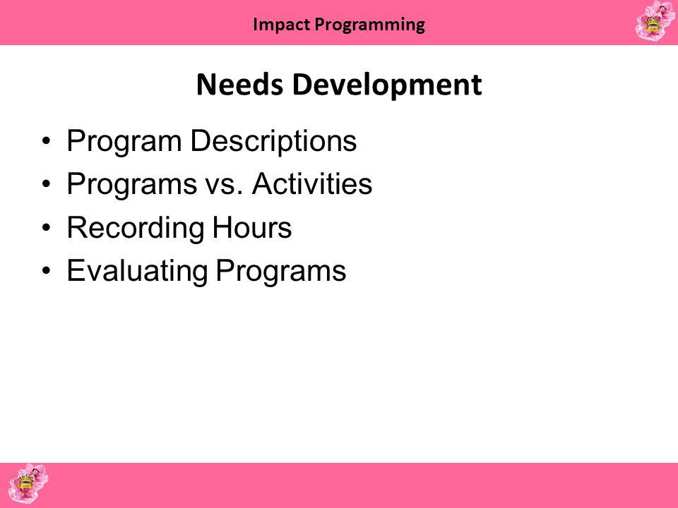 Impact Programming Needs Development Program Descriptions Programs vs. Activities Recording Hours Evaluating Programs