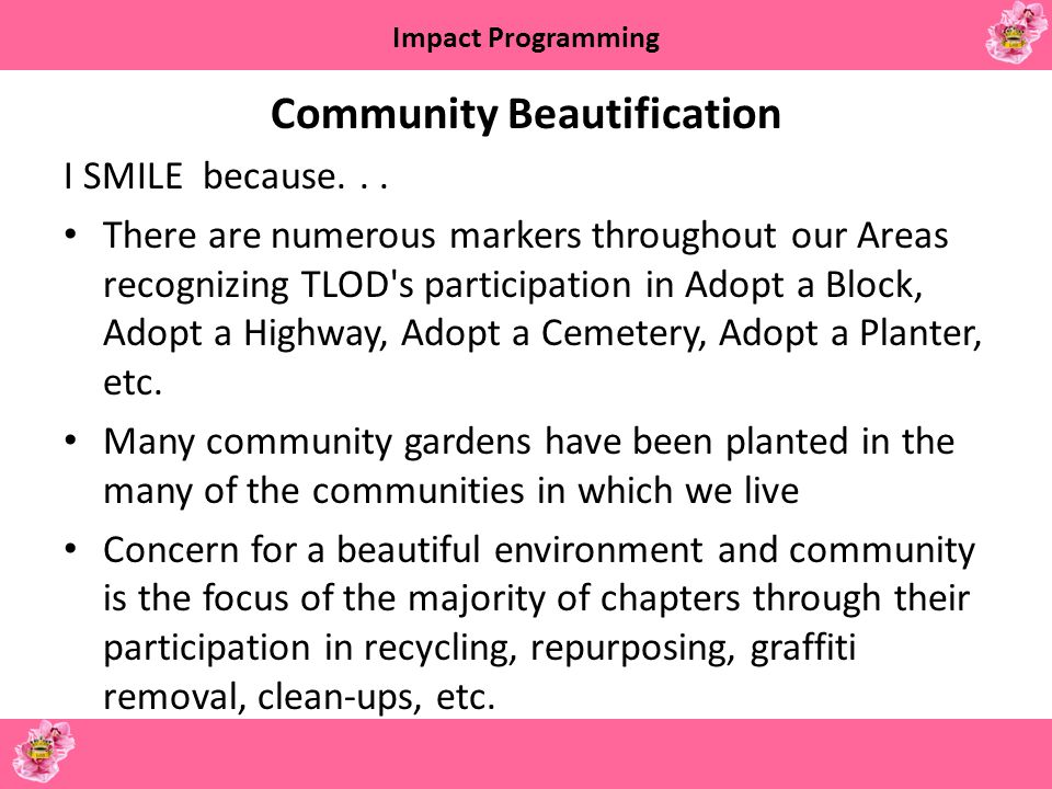 Impact Programming Community Partnerships I SMILE because...