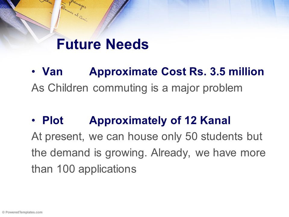Future Needs VanApproximate Cost Rs.