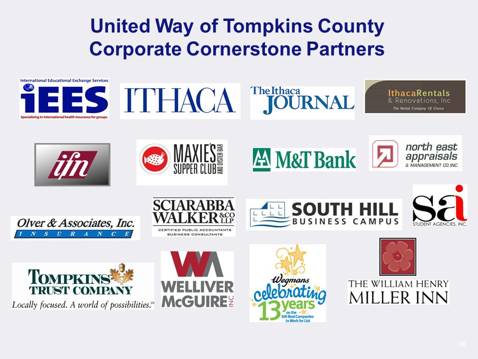 18 United Way of Tompkins County Corporate Cornerstone Partners