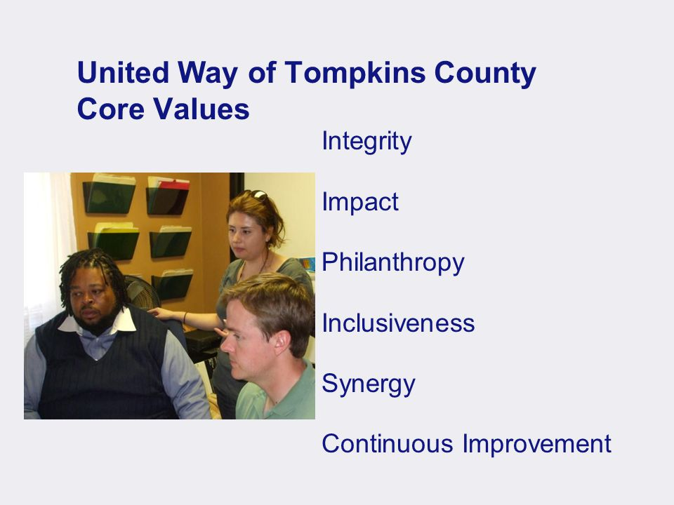 United Way of Tompkins County Core Values Integrity Impact Philanthropy Inclusiveness Synergy Continuous Improvement