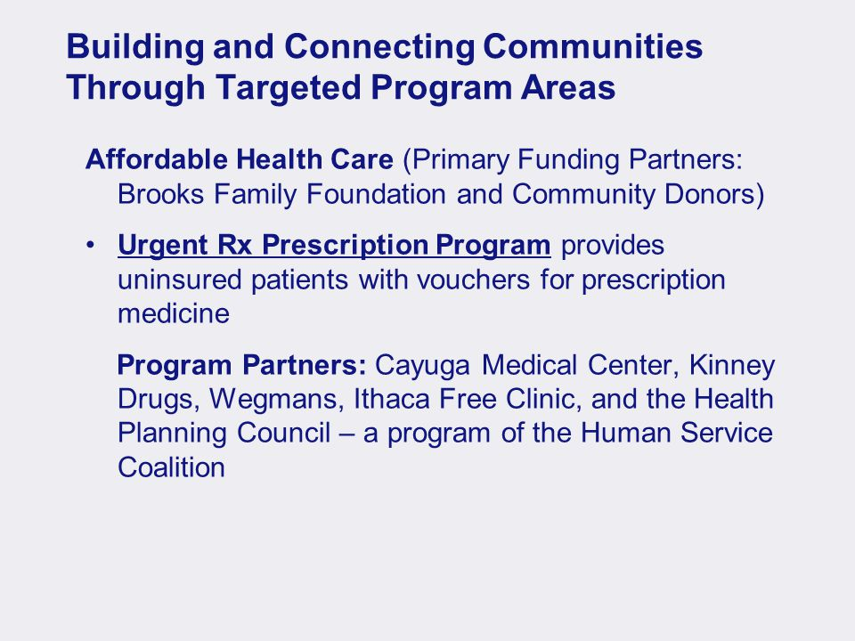 Building and Connecting Communities Through Targeted Program Areas Affordable Health Care (Primary Funding Partners: Brooks Family Foundation and Community Donors) Urgent Rx Prescription Program provides uninsured patients with vouchers for prescription medicine Program Partners: Cayuga Medical Center, Kinney Drugs, Wegmans, Ithaca Free Clinic, and the Health Planning Council – a program of the Human Service Coalition