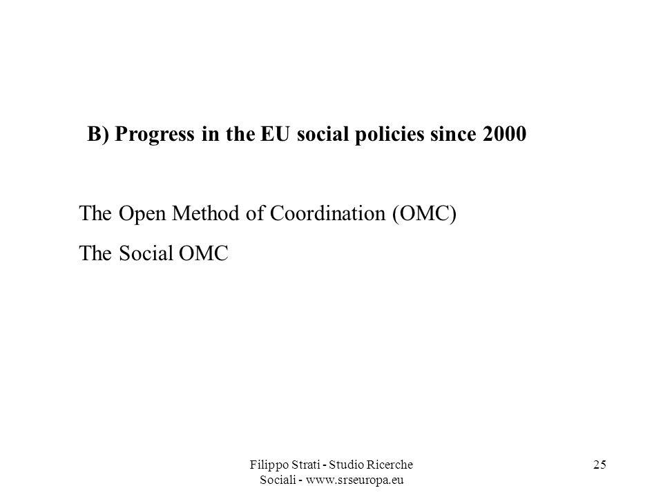 Filippo Strati - Studio Ricerche Sociali - www.srseuropa.eu 25 B) Progress in the EU social policies since 2000 The Open Method of Coordination (OMC) The Social OMC
