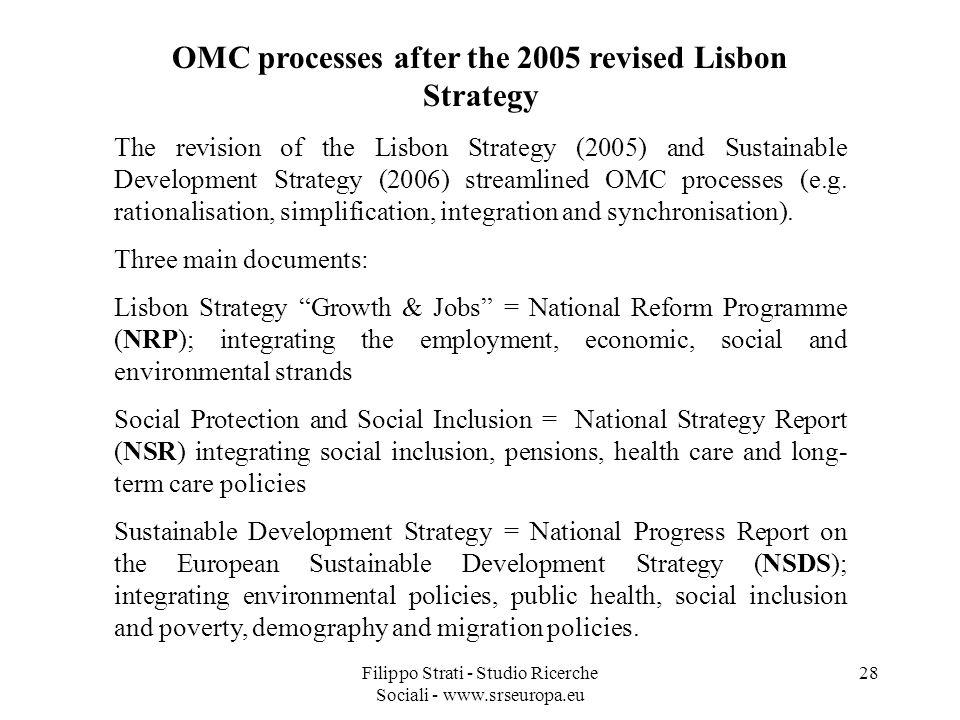 Filippo Strati - Studio Ricerche Sociali - www.srseuropa.eu 28 OMC processes after the 2005 revised Lisbon Strategy The revision of the Lisbon Strategy (2005) and Sustainable Development Strategy (2006) streamlined OMC processes (e.g.