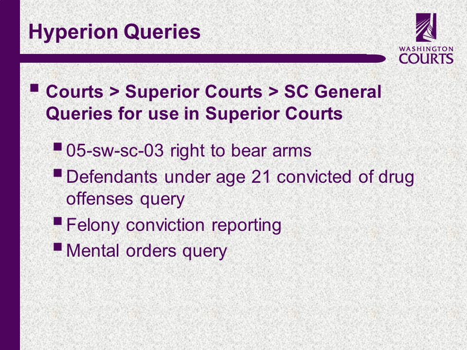 c Hyperion Queries  Courts > Superior Courts > SC General Queries for use in Superior Courts  05-sw-sc-03 right to bear arms  Defendants under age 21 convicted of drug offenses query  Felony conviction reporting  Mental orders query