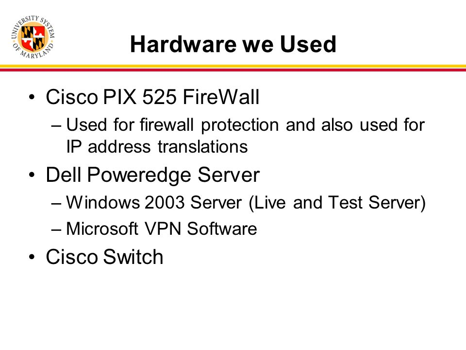 Hardware we Used Cisco PIX 525 FireWall –Used for firewall protection and also used for IP address translations Dell Poweredge Server –Windows 2003 Server (Live and Test Server) –Microsoft VPN Software Cisco Switch