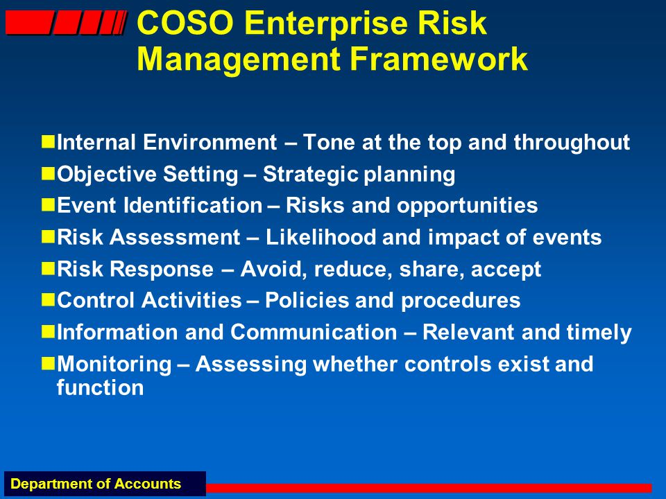 Department of Accounts COSO Enterprise Risk Management Framework Internal Environment – Tone at the top and throughout Objective Setting – Strategic planning Event Identification – Risks and opportunities Risk Assessment – Likelihood and impact of events Risk Response – Avoid, reduce, share, accept Control Activities – Policies and procedures Information and Communication – Relevant and timely Monitoring – Assessing whether controls exist and function