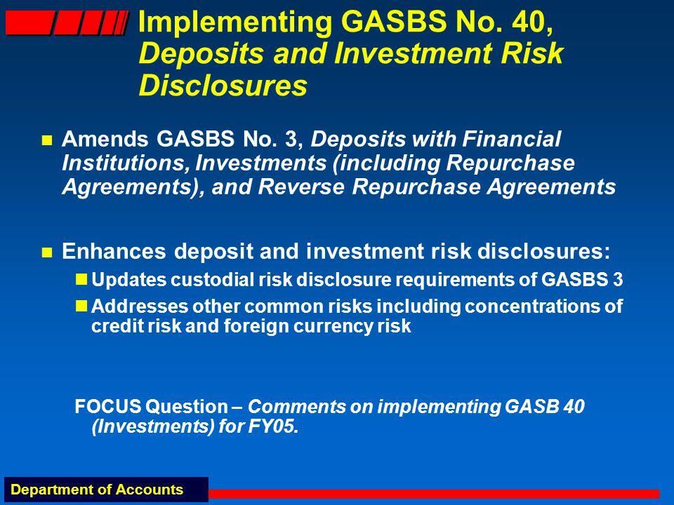 Department of Accounts GASBS No.