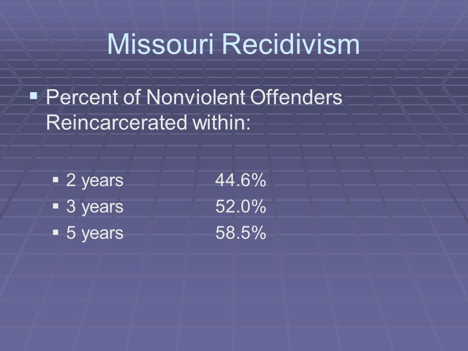 Missouri Recidivism   Percent of Nonviolent Offenders Reincarcerated within:   2 years44.6%   3 years52.0%   5 years 58.5%
