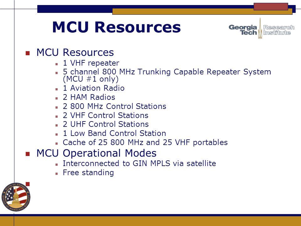 MCU Resources n MCU Resources n 1 VHF repeater n 5 channel 800 MHz Trunking Capable Repeater System (MCU #1 only) n 1 Aviation Radio n 2 HAM Radios n