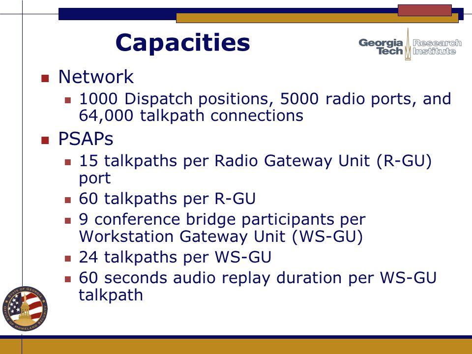 Capacities n Network n 1000 Dispatch positions, 5000 radio ports, and 64,000 talkpath connections n PSAPs n 15 talkpaths per Radio Gateway Unit (R-GU)