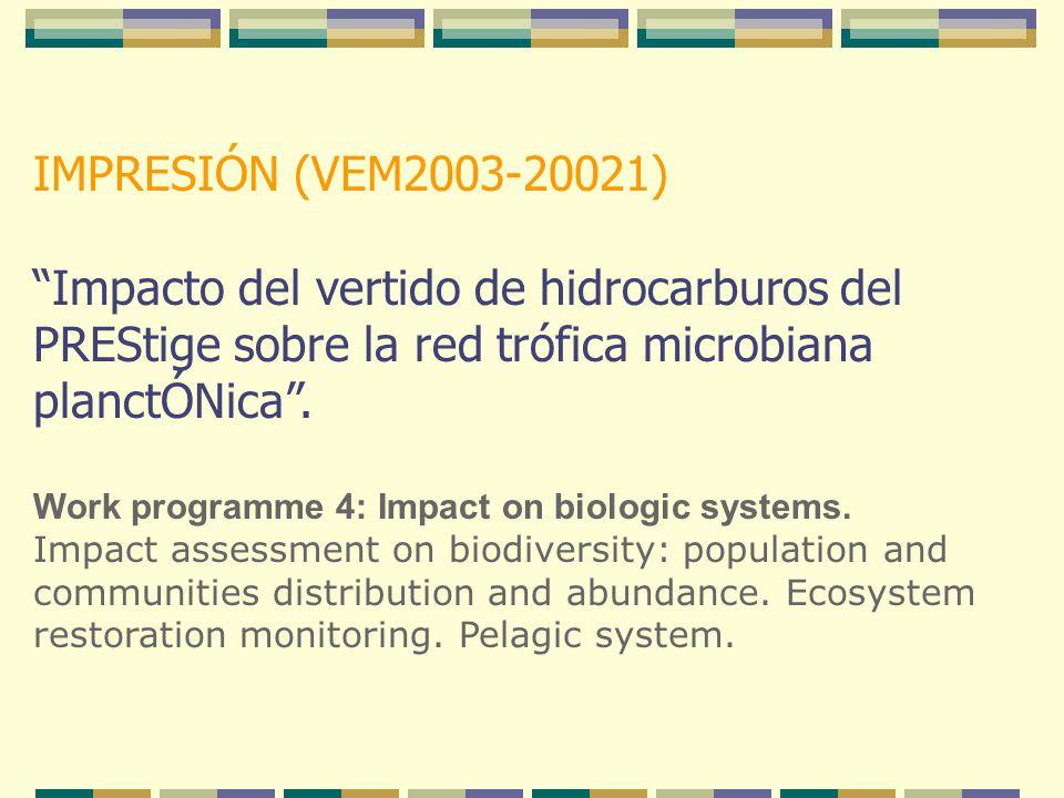"""IMPRESIÓN (VEM2003-20021) """"Impacto del vertido de hidrocarburos del PREStige sobre la red trófica microbiana planctÓNica"""". Work programme 4: Impact on"""