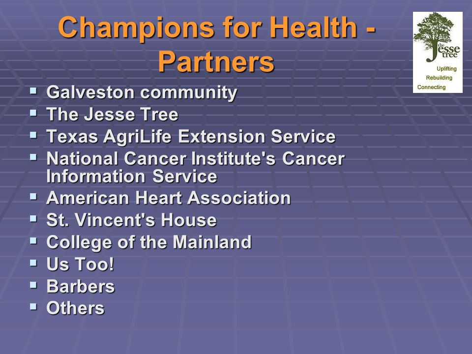 Champions for Health - Partners  Galveston community  The Jesse Tree  Texas AgriLife Extension Service  National Cancer Institute s Cancer Information Service  American Heart Association  St.