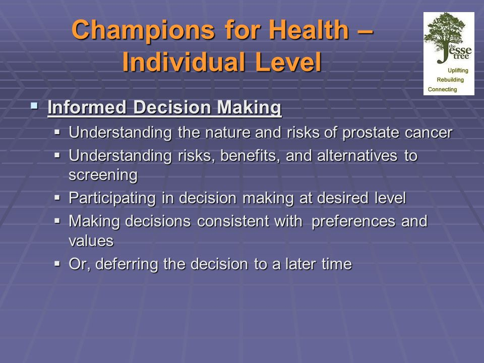 Champions for Health – Individual Level  Informed Decision Making  Understanding the nature and risks of prostate cancer  Understanding risks, benefits, and alternatives to screening  Participating in decision making at desired level  Making decisions consistent with preferences and values  Or, deferring the decision to a later time