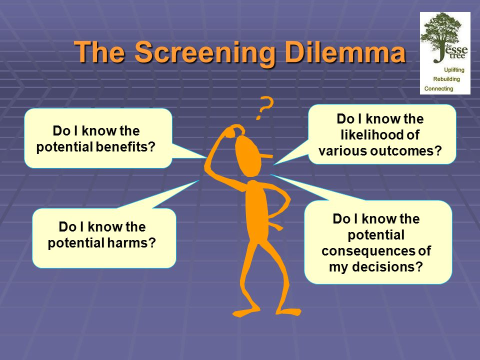 The Screening Dilemma Do I know the potential benefits.
