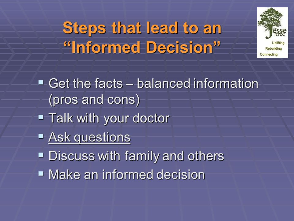 Steps that lead to an Informed Decision  Get the facts – balanced information (pros and cons)  Talk with your doctor  Ask questions  Discuss with family and others  Make an informed decision