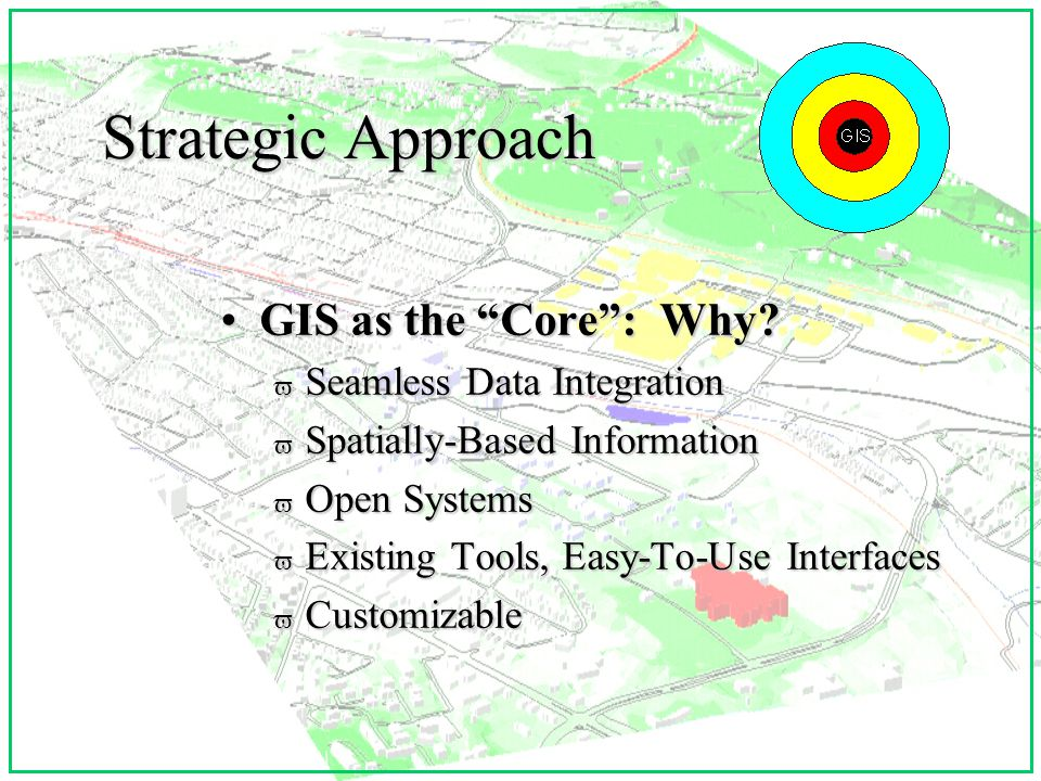The Integrating Nature of Present-Day GIS GIS in the Mainstream:GIS in the Mainstream: v Data Integration v Delivery Mechanisms (Internet) v Improved Interfaces v Lower Cost v Toolbox Approach