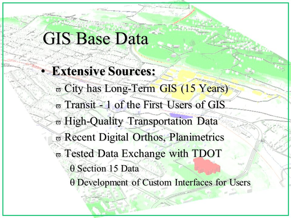 Internet/Visualization/ ATIS: v Public Access v GIS/Web Tools v 3-D Visualization Tools v Real-Time Data Display and Query v Future Bandwidth: Internet 2 v Kiosks or Publicly Accessible Computer Terminals for Transit