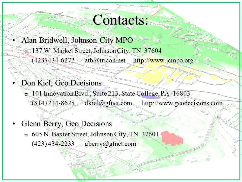 Contacts: Alan Bridwell, Johnson City MPOAlan Bridwell, Johnson City MPO v 137 W.