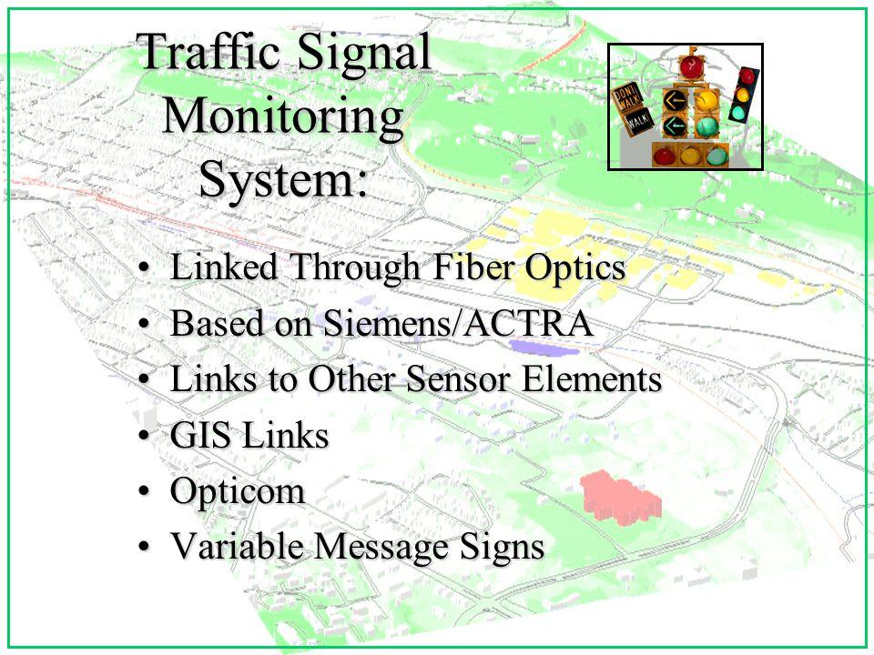 Traffic Signal Monitoring System: Linked Through Fiber OpticsLinked Through Fiber Optics Based on Siemens/ACTRABased on Siemens/ACTRA Links to Other Sensor ElementsLinks to Other Sensor Elements GIS LinksGIS Links OpticomOpticom Variable Message SignsVariable Message Signs