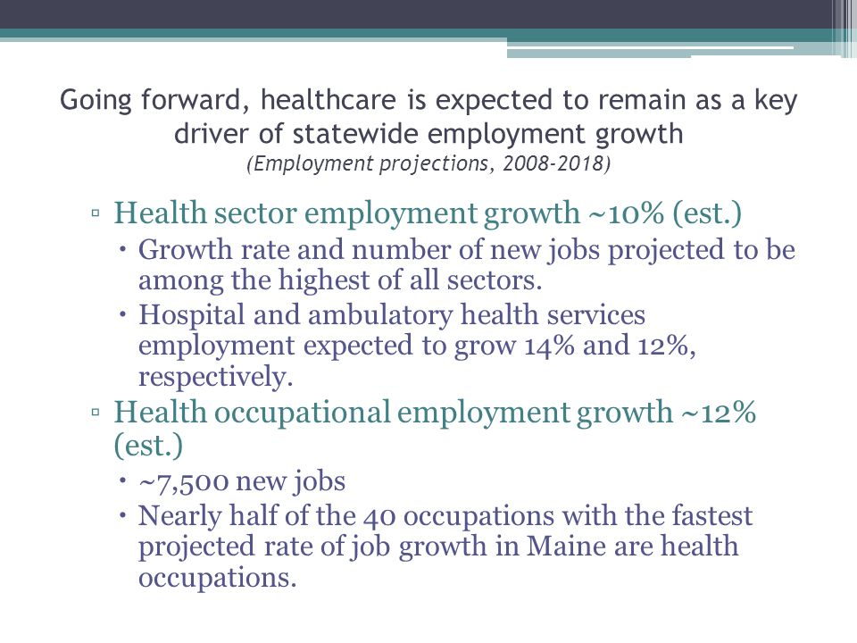 Going forward, healthcare is expected to remain as a key driver of statewide employment growth (Employment projections, ) ▫Health sector employment growth ~10% (est.)  Growth rate and number of new jobs projected to be among the highest of all sectors.