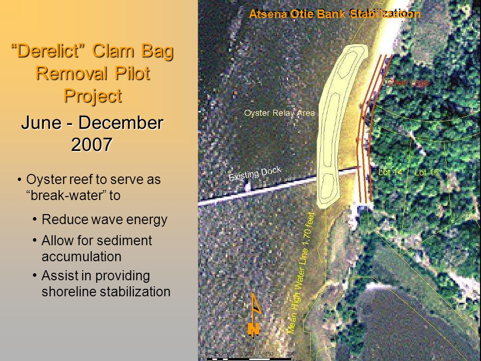 Derelict Clam Bag Removal Pilot Project June - December 2007 Oyster reef to serve as break-water to Reduce wave energy Allow for sediment accumulation Assist in providing shoreline stabilization Atsena Otie Bank Stabilization N